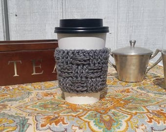 Teacher Gift - Gray Crochet Cup Sleeve Basketweave Neutrals Everyday Cup Sleeve in Smoke