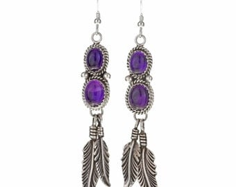 Navajo Amethyst Silver Dangle Earrings Feathers French Hooks