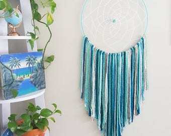 Boho wall hanging, blue white green beach ocean dreamcatcher, big giant dreamcatcher, dreamcatcher, dream catcher, baby nursery dreamcatcher