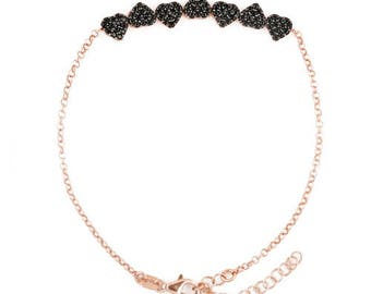 925 sterling silver gold plated with black sparkling heart bracelet Rosé