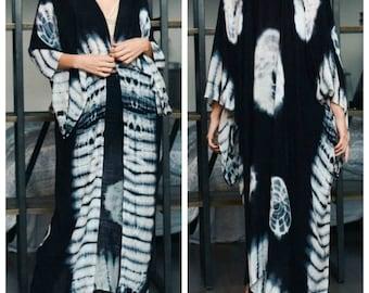 Kimono, tie dye long kimono, Beach cover up, Bohemian, long cardigan, blue kimono,Oversized kimono, Summer boho jacket , Boho kimono