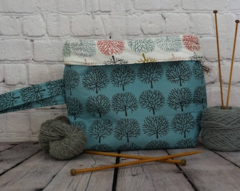 Trees Bucket bag, Knitting project bag, 3 skein project bag, Crochet project bag, Shawl Knitting Bag, Yarn bowl, Fold over bag