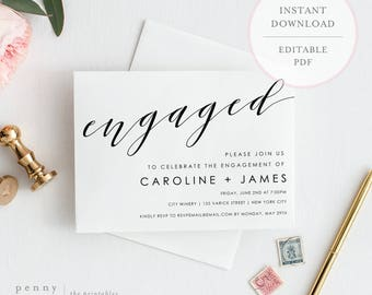 Engagement Party Invitation. Engagement Party Invites. Editable Engagement Invitation. Engagement Invite Template. DIY Invite. (SH)