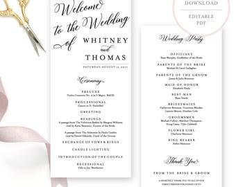 Wedding Programs. Wedding Program Template. Wedding Programs Instant Download.  Wedding Program Template Download. Printable Program. (BR)