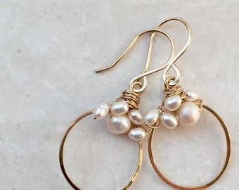 Freshwater Pearl Gold Hoop Earrings