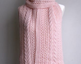 Pink Pure Wool Hand Knitted Cable & Lace Scarf - 'Isabella'.