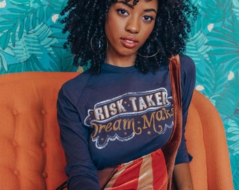 Risk Taker 3/4 Sleeve, female power tee, retro style tee, vintage graphic tee, pro feminism tee, distressed graphic tee, self love tee