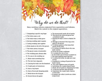 Autumn fall bridal shower, why do we do that, wedding tradition game, autumn leaves, watercolor fall leaves, INSTANT DOWNLOAD