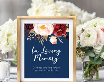 In Loving Memory Sign, Memorial Table Sign, Wedding Remembrance Sign, In Memory Of, Printable Wedding Sign, Boho Chic, Foral #A004