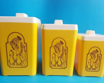Vintage Set of 3 Bright Yellow Canisters • Kitchen