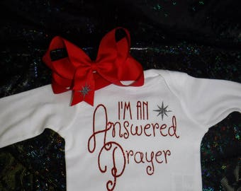 Baby Girl Christmas Outfit, Onesie and Bow