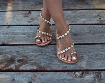 "Wedding sandals ""Deja"", Pearl sandals, Handmade sandals, Greek Leather sandals, Luxury sandals, Bohemian sandals, Flat sandals,Bridal sandal"