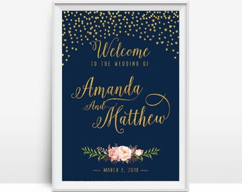 Personalized, DIY Printable, Gold Confetti, Wedding Welcome Sign, Navy Blue, Navy and Gold, Modern Wedding Sign - US_WS0209