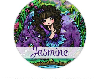 Fairy stickers, back to school stickers, kids name labels, girl stickers, personalized stickers, kids name stickers - fairy & dragon