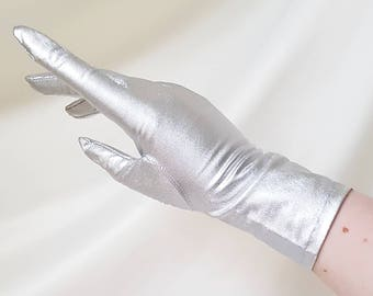 60s MARY QUANT Silver Gloves METALLIC Tricot 100% Nylon Long Evening Gloves | New In Packaging | Various Sizes Available 6 1/2, 7, 7 1/2
