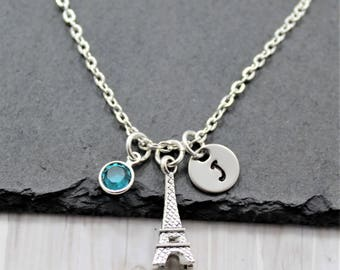 Eiffel Tower Necklace - Personalized - Paris Themed Gifts - Eiffel Tower Jewelry for Women & Girls - Tourist Travel Necklace - France Gifts