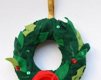 Christmas wreath, small christmas wreath, handmade, fabric wreath, red festive flower