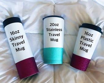 In Shop Design Travel Mug//Glitter Dipped