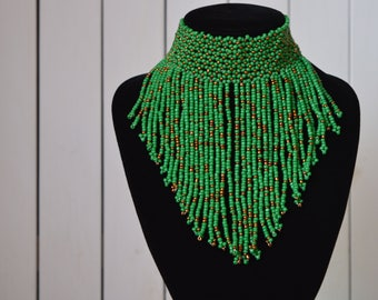African Maasai Beaded Choker Necklace | African Tribal Jewelry | Multi color Necklace | Green Necklace | One size fits all | Gift for Her