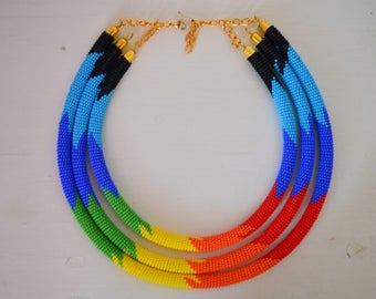 African Maasai Beaded Necklaces | 3 in 1 Zulu Beaded Necklace | African Jewelry | Tribal necklace | African beaded necklaces | Gift for Her