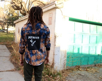 Just Blew It Patched Reverse Tie Dye Flannel