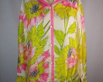 Vintage Vera Silk Blouse, Fluorescent Flowers, Poppy print