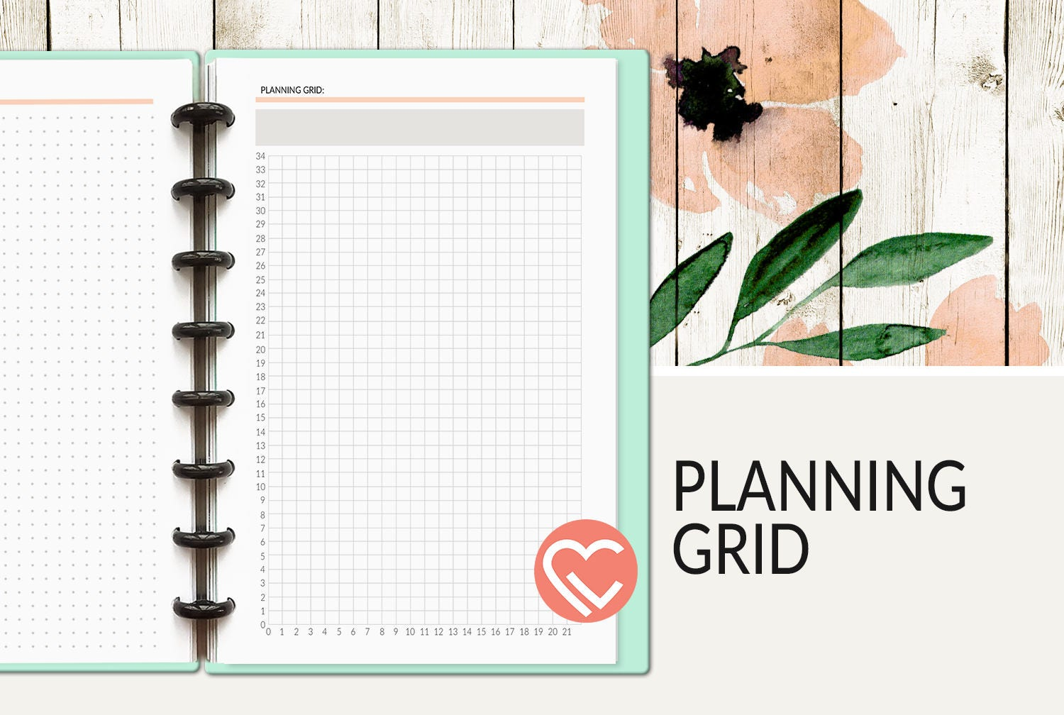 Planning Grid 3 Sizes Digital Planner Page Instant