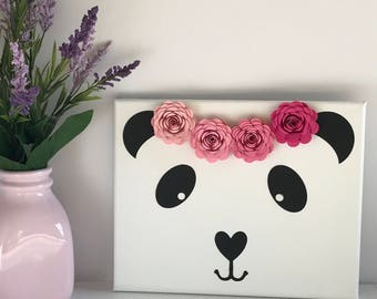 Panda Bear Decor - Panda Wall Decor - Panda Print - Panda Bear Art - Paper Flower Wall Art - Paper Flower Decor - Boho Girl Decor - Kid Room