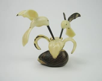 Tagua Nut Carving: Two Hummingbirds on a Flower (649-G18011901)