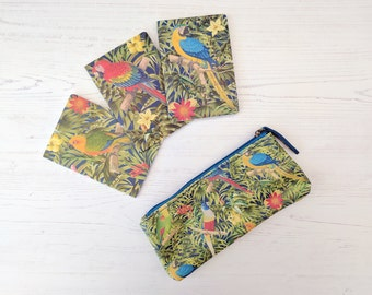 Tropical Parrot Stationery Set - Pocket Notebooks and Pencil Case - Parrot Notebook - Colourful Stationery - Parrot Gift - Back to School