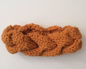"""BOHO BRAIDED KNIT headband in """"Carrot"""""""