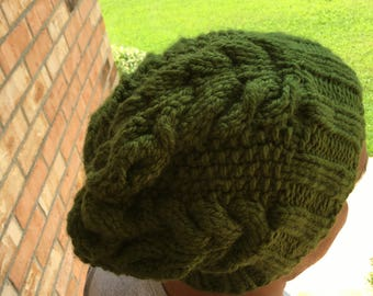 Cabled Beanie, Unisex, Solid Color Options, Shown in Green