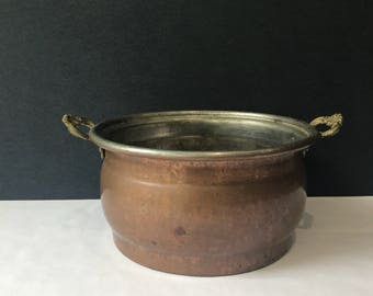Copper Pot with Brass Handles - Hanging Copper Pot Decor / Copper Kitchen / Copper and Brass Decor / Hammered Copper