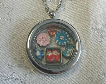 Alice in Wonderland Bespoke Floating Charm Lockets - Choice of 8 (Queen of Hearts/White Rabbit/Mad Hatter/Gifts for Her)