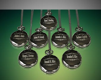 Groomsmen gift - 11 Personalized Pocket watches - Bride and Groom gifts - Best man - Usher and Groomsman gift set - Wedding gift set