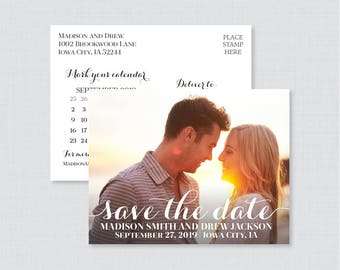 Printable OR Printed Photo Save the Date Postcards - Classic Save our Date Postcards for Wedding - Elegant Script Save the Dates 108