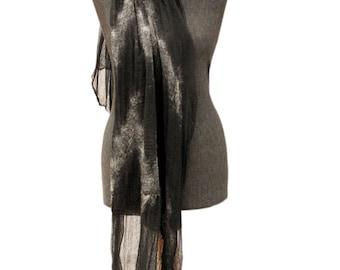 Felted Scarf, Blanket scarf, Nuno felt scarf,  Man scarf, Woman scarf, Winter scarf, Black and white scarf, Merino wool scarf, Black shawl