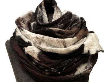 Wild oversized scarf, Brown black white scarf, Fur like scarf, Unique nuno felt scarf, Oversized wrap, Nuno felt shawl, Merino blanket scarf