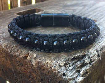 Paracord bracelet beaded hyperthene and stainless steel clasp