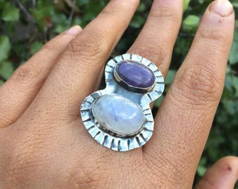 Moonstone and Amethyst Ring / Sterling Silver Ring / Rainbow Moonstone Ring / Shield Ring / Statement Ring / Multi-Stone Ring / Aztec Ring