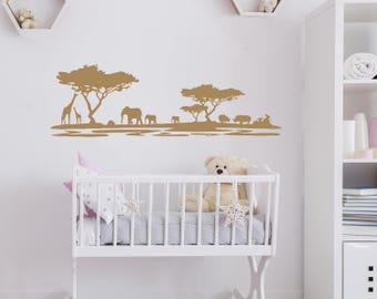 Safari Wall Decal Nursery Decals Africa Animal Wall Decor African Safari Nursery Wall Decal Home Decor Sticker Bedroom Art Decor Safari kp25