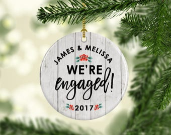 Personalized Engaged Ornament | Engagement Gift | First Christmas Engaged | Gift for Bride | Christmas Gift for Couple