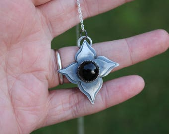 """ONYX FLOWER PENDANT, Sterling Silver, Handmade, 20"""" Chain, Ready To Ship"""