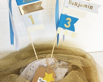 Cake Topper flags: personalized with names and age birthday flags, Cake Decoration, flags measures and assorted ribbons
