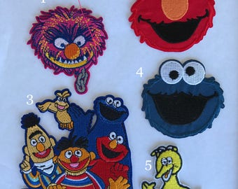 Sesame street iron on inspired patch, Sesame street birthday party inspired applique