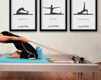 PILATES POSTER - Set 2 of 3 Pilates Poster - Pilates Art Print - Pilates Studio Decor - Pilates Inspiration - Pilates Wall Decor - Wall Art