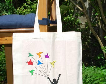 "Tote bag ""Fly away"", cotton bag, shopping bag, shopper bag, reusable bag,  shoulder bag, canvas bag"