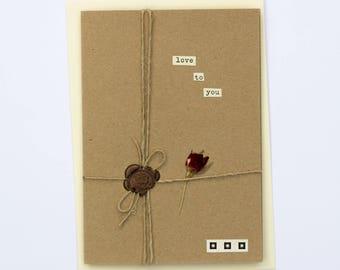 Love To You Romantic Handmade Wax Seal Dried Flower Greetings Card