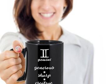 Gemini mug, 11oz coffee mug with Gemini zodiac sign, Gemini gift