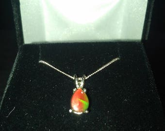 Ammolite Gemstone Solid Sterling Silver Necklace